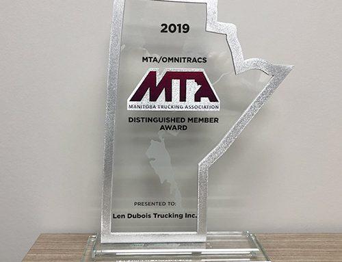 Len Dubois Trucking Honoured with Distinguished Member Award