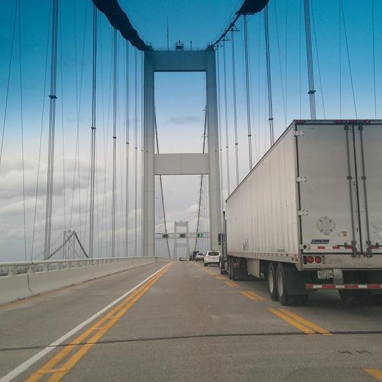 truck crossing bridge