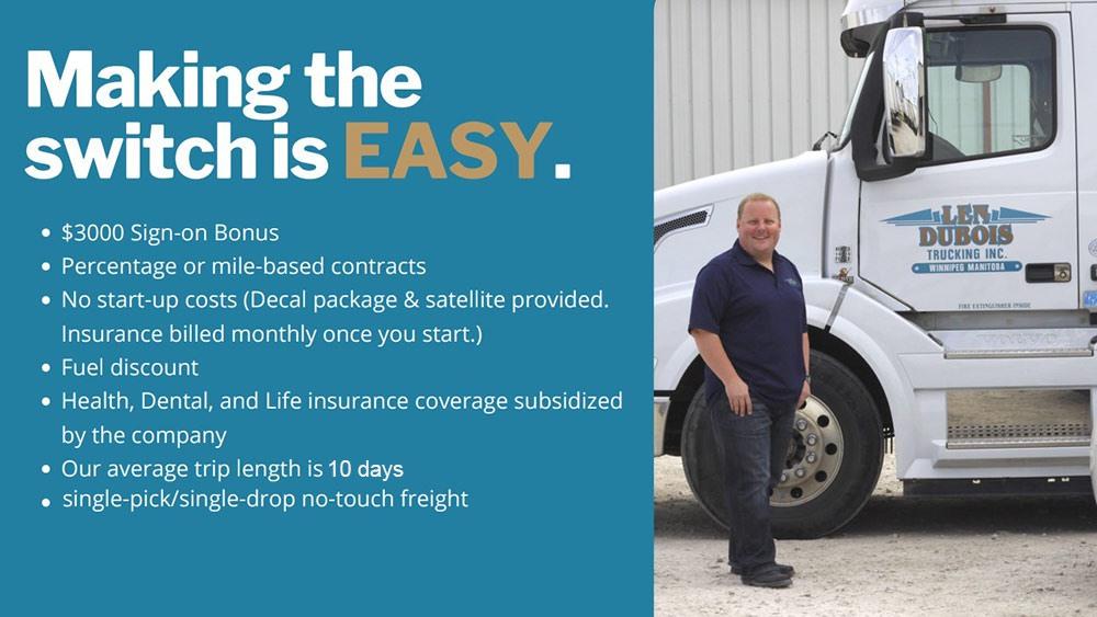 Len Dubois Trucking Owner Operators Winnipeg
